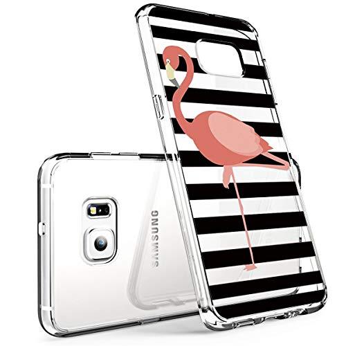 Compatible/Replacement pour Coque Samsung Galaxy S6 Edge, Housse Protection Mignon Premium TPU Silicone Bumper Etui Ultra Mince Transparent/Exact Fit/Souple pour Samsung S6 Edge (Flamingo)
