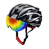 XinerTer Adult Bike Helmet Road Bike Helmet + Detachable Magnetic Goggles + Cycling face mask Replacement Lining Mountain Bicycle Helmets for Men and Women, Adjustable Size 22-24.2 in(White+mask)