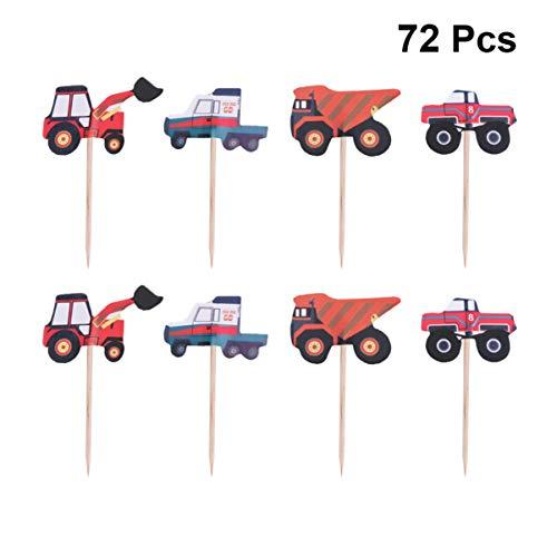 Amosfun 72 stks Bouw Auto Cupcake Taart Topper Decoratie Truck Engineering Auto Toppers Voedsel Picks voor Jongen Verjaardag Bouw Thema Party Decor