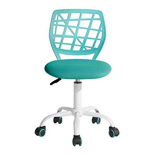 Homy Casa Schreibtischstuhl Verstellbarer drehbarer Bürostuhl Stoffsitz Ergonomischer Arbeitsstuhl ohne Armlehne Türkis