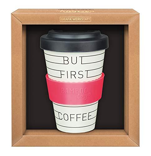 Grafik-Werkstatt 61006 Premium Gobelet avec couvercle | Tasse à café à emporter | 400 ml | But first Coffee