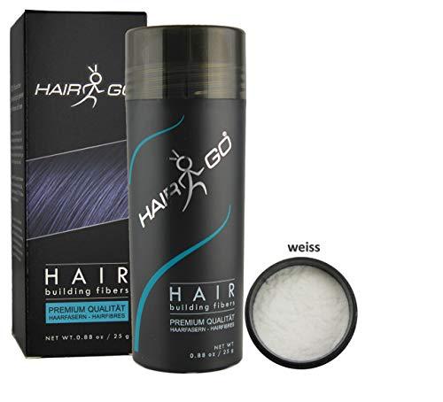 HAIR GO Premium Schütthaar zur Haarverdichtung   Haarpuder   Streuhaar 100% natürlich & vegan, 1er Pack, (1x 25 gr.) (weiss)