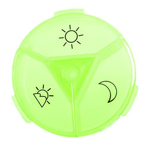 Sharplace 1 Día Organizador de Pastillas (Tres Veces al día), Caja Colorida de Pastillas diarias Libre de BPA con diseño fácil de Abrir para Contener - Verde