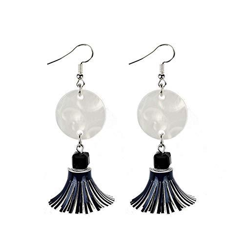 GGSDDU Fashion Temperament Earrings For Women Short Tassel Dangle Earrings Fashion Circle Summer Ear Jewelry 5 Colors Available,Navy Blue