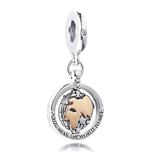 PANDOCCI 2021 regalo del día de San Valentín chapado en oro de 14 quilates colgante mundial plata 925 DIY se adapta a pulseras originales Pandora encanto joyería de moda
