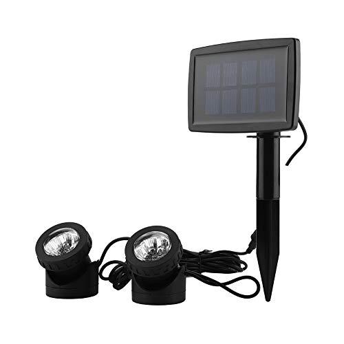 2 Stück Solarbetriebene Teichlichter Unterwasser, Unterwasserstrahler Solar Spotlight Licht mit 12 LED für die Beleuchtung von Unterwasser...