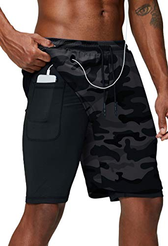 Pinkbomb Men s 2 in 1 Running Shorts Gym Workout Quick Dry Mens Shorts with Phone Pocket (Grey Camo, Large