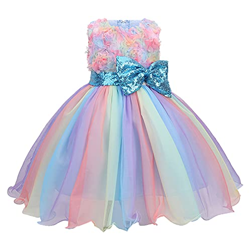 FORESTIME Girls Party Dress Kids Bowknot Paillette Tulle Pageant Gown Birthday Party Princess Dress,for Special Occasion(Blue,6-7 Years)