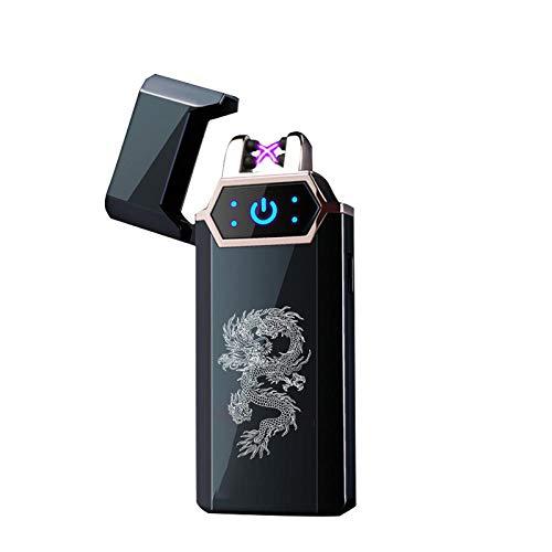 DONGPU feuerzeu Elektro feuerzeug USB Elektro Feuerzeug Fingerabdruck Touch Fire Plasma Doppelbogen Licht Wind Metall Zigarette Zubehör