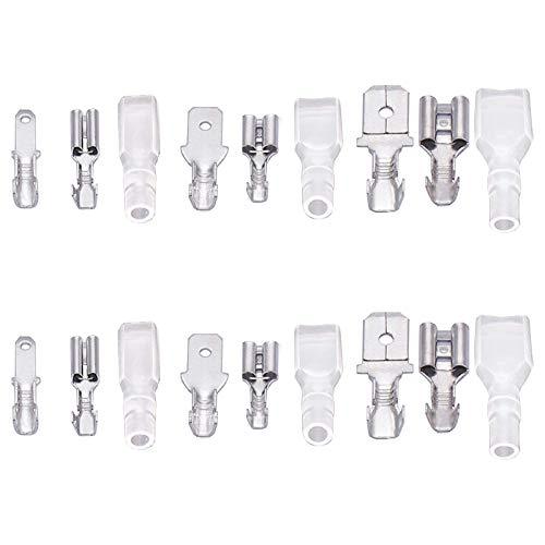 270 piezas Macho Crimpadora femenino Conectores de pala de alambre Conector terminal con mangas aislantes Utilizado para el sistema Para batería o interruptor basculante (plateado)