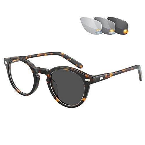 QQAA Leesbril Heren - Outdoor Kleurveranderende Stralingsbestendige Zonnebrillen, Mode Stijl Ronde Loupe Bril, Verminder Hoofdpijn & Oogstreken