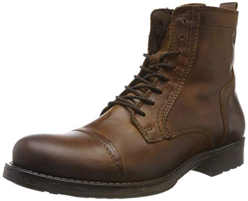 JACK & JONES Herren Jfwrussel Leather 19 Biker Boots, Braun (Cognac), 45 EU