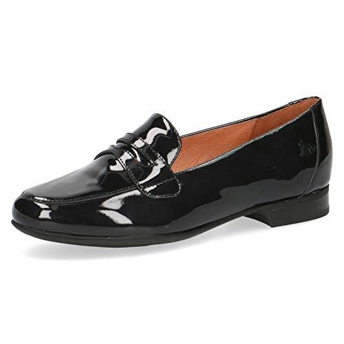 CAPRICE Damen SlipperMokassins, Frauen Mokassin, strassenschuh Sneaker sportlich leicht flexibel modisch freizeitschuh,Black PATENT,40 EU / 6.5 UK