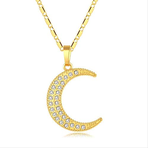 niuziyanfa Co.,ltd Neue Goldfarbe Mond muslimische Halskette für Frauen und Kinder Geschenk Islam Allah Halskette Schmuck muslimischen Nahen Osten