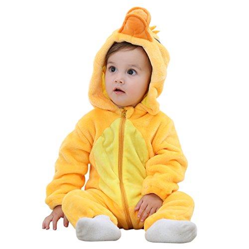 COOKY.D - Pijama de franela con capucha para bebé (0-36 meses) Amarillo Pato 6-12 Meses