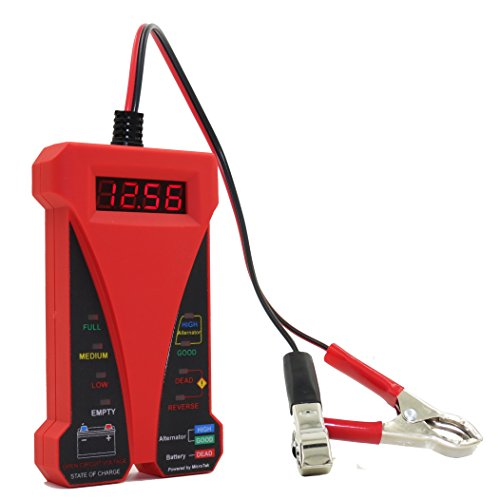 MOTOPOWER MP0514C 12 V Digital Batterie Tester Voltmeter und Lade System Analyzer mit LCD Display und LED-Anzeige - Rot