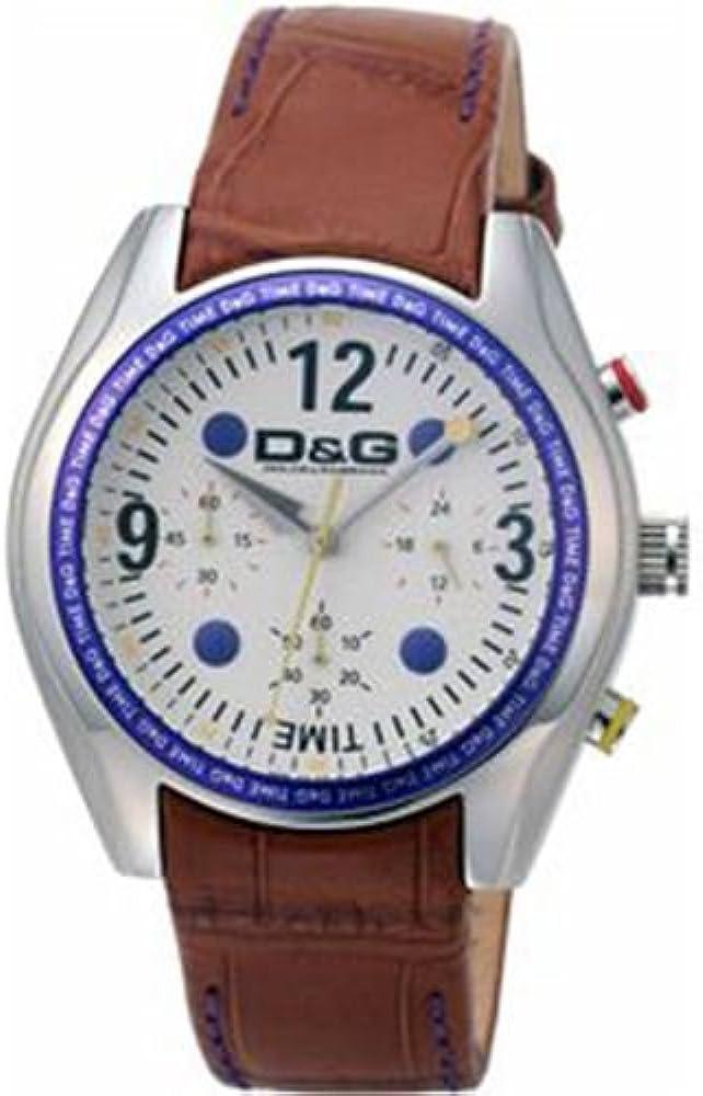 Dolce&gabbana orologio cronografo da uomo in lega di acciaio e cinturino in pelle DW0310