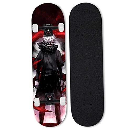 FWAHB Monopatín, Macho y Hembra Skateboards para Principiantes, monopatín Completo 31 Pulgadas (Tokio Ghoul Series Golden Wood Research Siete