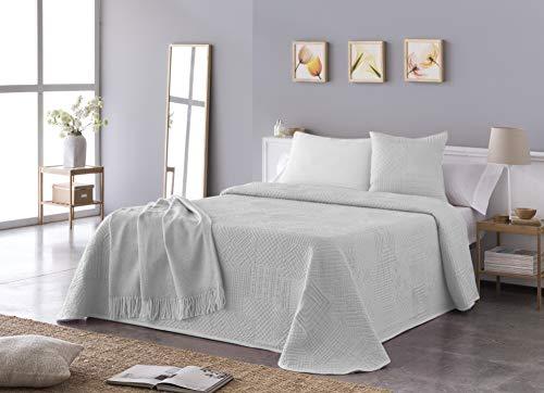 VIALMAN Colcha, Blanco, Cama de 105 cm: 200 cm X 270 cm, 7