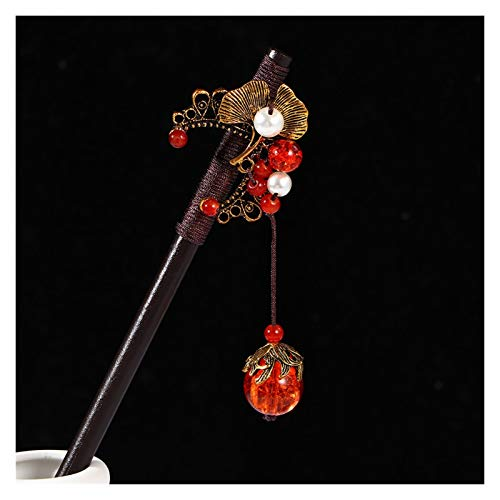 Zxebhsm Haarschmuck Chinesischen Stil Alte Kostüm Haarnadel Holz Nachahmung Jade Blume Schritt Schaukel Holz Haar Gabel Mädchen Hanfu Kopfschmuck (Farbe : Apricot Leaf)