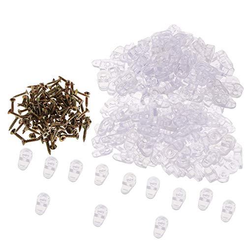 YouU 100 Stück Möbel-Zubehör Glas-Clips und 100 Schrauben, transparente Kunststoffhalterungen für Bildschirmpaneele