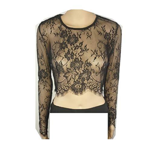 Bluse, Dirndlbluse, Gr. 36/38 Kann auch ohne Dirndl getragen werden, schwarz, Baumwolle/Polyester, Spitze lange Ärmel, super modern, tolles Geschenk, lange Bluse, extravagant, Tracht, Trachtenbluse s