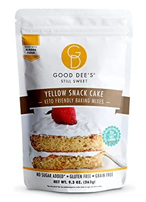 Good Dee?s Yellow Snack Cake Mix- Low carb, Sugar free, gluten free, grain free, Atkins friendly, Diabetic friendly, WW friendly, 12 servings