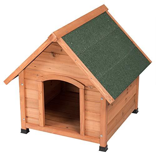 EUGAD Caseta de Madera Maciza para Perros Casa para Perro Animal Pequeño Casetas de Perros para Jardín Impermeable 76x76x72 cm 0004TL