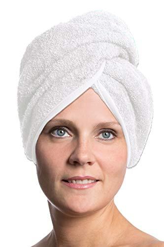 ZOLLNER Turbante asciugacapelli, 100% Cotone, Bianco, in Tanti Colori, 062
