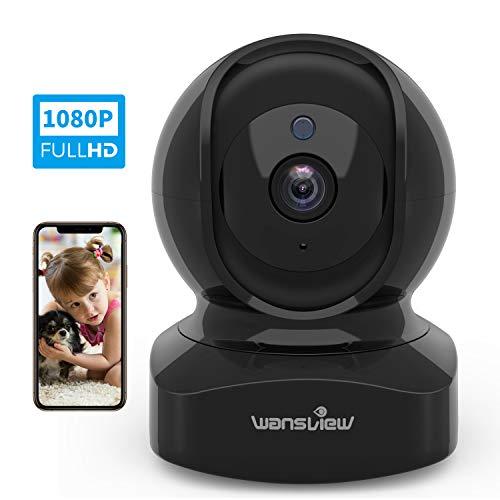 Videocamera WiFi, Wansview FHD 1080P Telecamera di Sorveglianza WiFi con Audio Bidirezionale e Compatibile con Alexa, Notifiche in Tempo Reale Q5 Nero