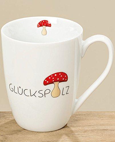 Bloominghome Tasse mit Henkel Glückspilz Porzellan weiß 330ml Becher