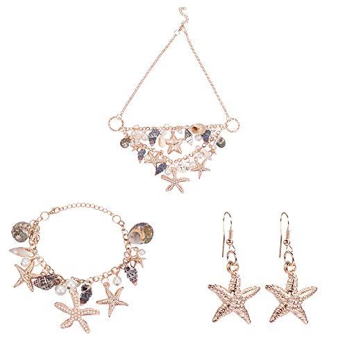 PandaHall Elite Fashion Sea Shell Starfish Faux Perle Kragen Bib Statement Chunky Halskette