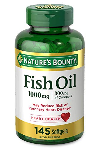 Nature's Bounty Fish Oil, 1000mg, 300mg of Omega-3, 145 Rapid Release Softgels
