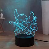 Lilo & Stitch Doll Play Guitar LED Night Light pour chambre à coucher, Stitch USB Touch Remote 3D Desk Decor Light, Batteries Powered, Kids Teens Birthday New Year Gift