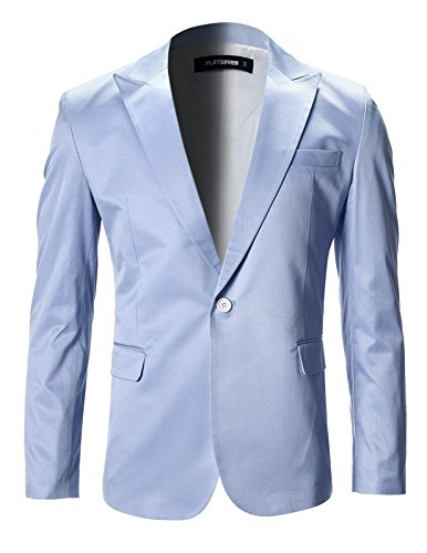 FLATSEVEN Mens Slim Fit Stylish Peaked Lapel Blazer Jacket (BJ200) LightBlue, M