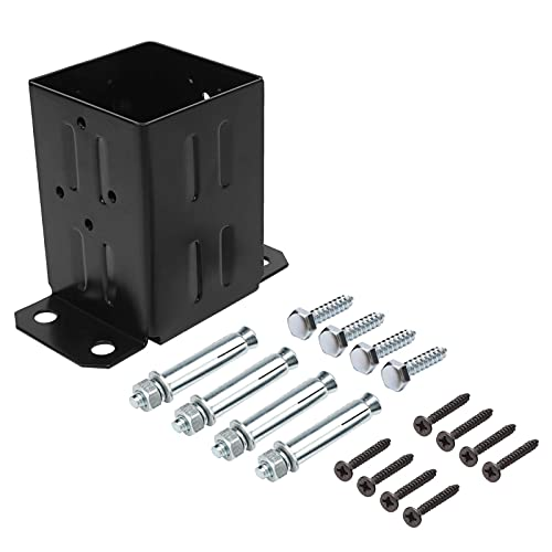 Eapele 4x4 Wood Fence Post Anchor Base, 13GA Thick Steel and Black Powder Coated,Come with Wood Screws and Concrete Anchors