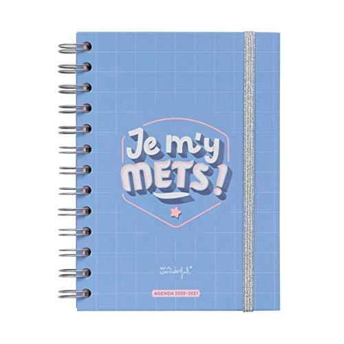 """Mr. Wonderful - Agenda classica piccola 2020-2021, modello settimanale, con scritta """"Je m'y mets"""""""