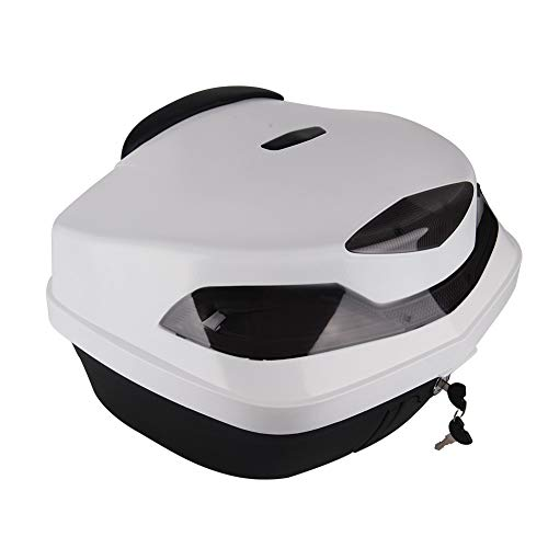 Motorcycle Tour Tail Box Trunk Luggage Top Lock Storage Carrier Case 48L w/backrest & Handle(White)