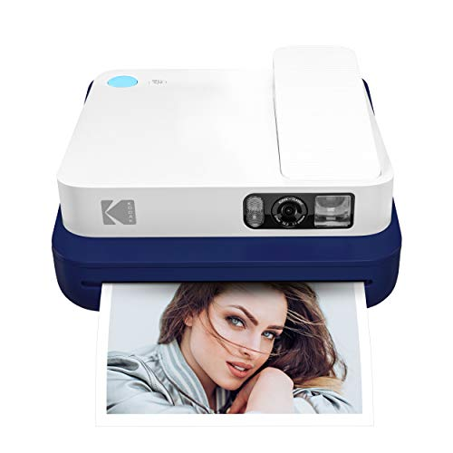 "KODAK Smile Classic Cámara Instantánea Digital c/Bluetooth (Azul) 16MP, 35 Impresiones p/Carga - Incluye Papel Zink 3,5 x 4,25"", Marcos con Stickers"