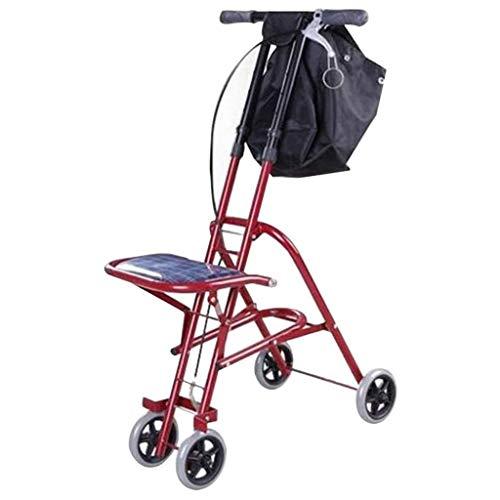 Stands Andadores Plegables, Andador para Personas Mayores, Andador Ligero, Carrito de Movilidad con Asiento y Bolsa 4 Ruedas para Eldly
