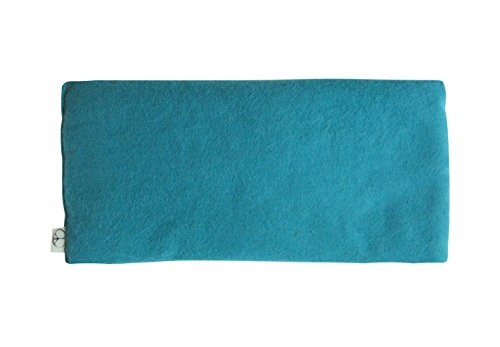 Yoga Unscented Organic Flax Seed Eye Pillow - Soft Cotton Flannel 4 x 8.5 - teal green turquoise blue