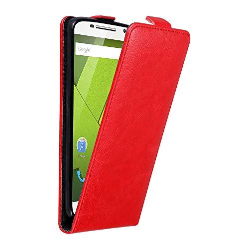 Cadorabo Hülle für Motorola Moto X Play in Apfel ROT - Handyhülle im Flip Design mit Magnetverschluss - Hülle Cover Schutzhülle Etui Tasche Book Klapp Style
