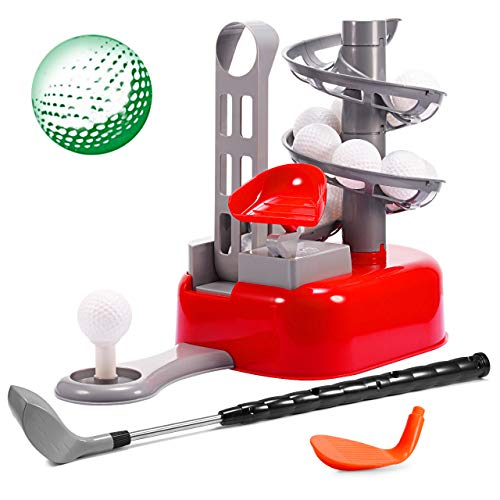 Kids Golf Toy Set, Gold Time Outdoor Sport Toy Toddler Golf Set Kids Golf Clubs Toddler Golf Clubs Kids Outdoor Exercise Toys Gifts For 3-12 Year Old Boys Girls Toddlers Children (Red)