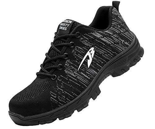Zapatillas de Seguridad Hombre Zapatos de Mujer Antideslizante Transpirable Zapatos de Trabajo Calzado de Trabajo Ultra Liviano Suave y Cómodo Deportes Unisex, A Negro, 43 EU