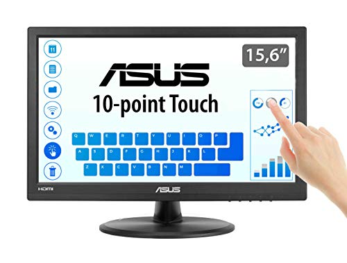 Asus VT168H - Monitor tactil de 15.6'' (1366x768, 200 cd/m², 50000000:1, capacitiva, 76 Hz, 0,252 x 0,252 mm, filtro de luz azul, Flicker free) Negro
