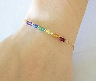 Pulsera de arco iris, pulsera de orgullo gay, pulsera de piedras preciosas, auténtica esmeralda rubí zafiro Ametyst pulser...