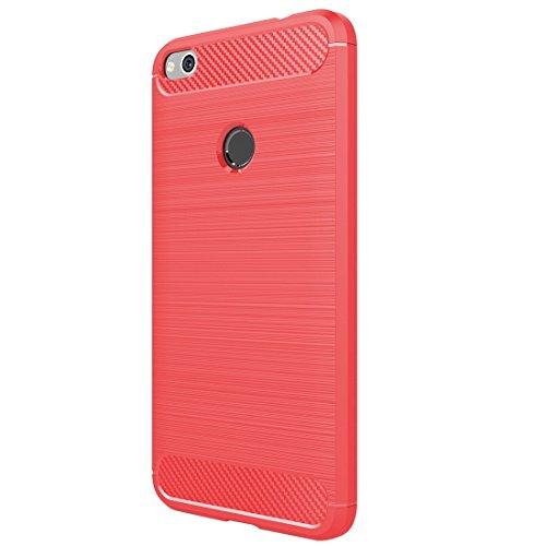FXH Recortes precisos P8 for Huawei Lite (2017) cepilló la Caja Protectora de Fibra de Carbono Textura de Golpes de TPU (Negro) taizhan Más portátil (Color : Red)