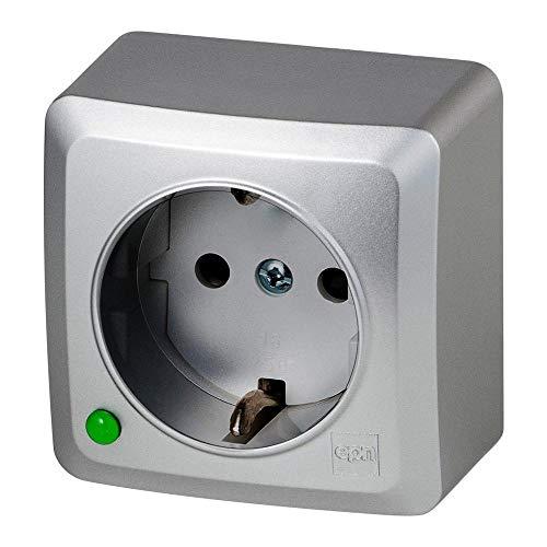 Aufputz Einfach Schuko Steckdose IP20 16A 230V silber serie BERG