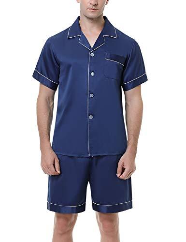 Hawiton Pijama Hombre Verano de Satín Pijamas Corto Hombre de Manga Corta Saten con Pantalón Dos Piezas