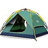 HEWOLF Wurfzelt Automatisches Pop Up Zelt 2-3 Personen Camping Zelt Familienzelt Leichtes Kuppelzelt Doppelschicht Firstzelte Outdoor Zelte mit Tragetasche Dunkelgrün